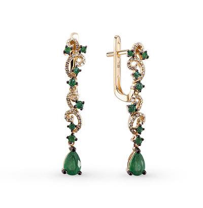 Фото «золотые серьги с изумрудами и бриллиантами»