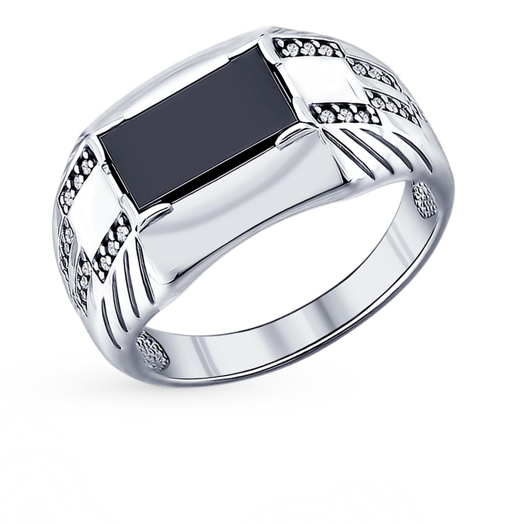 серебряное кольцо с ониксом и фианитами SOKOLOV 94011394