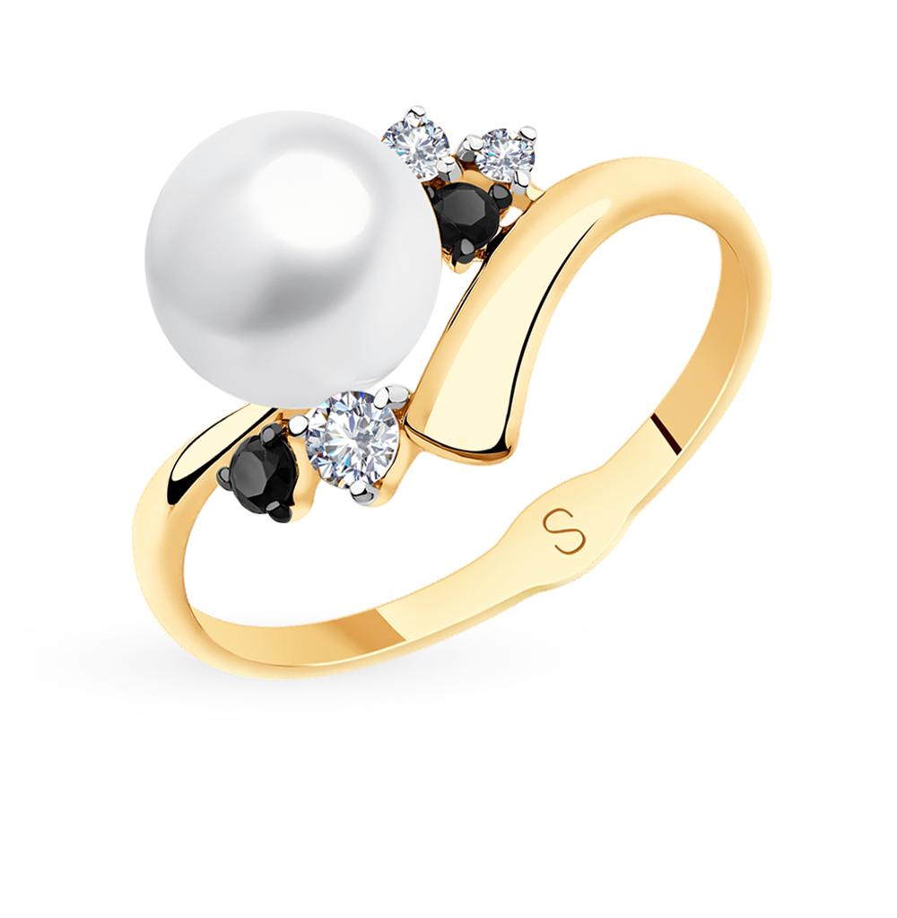 золотое кольцо с фианитами и жемчугом SOKOLOV 791138*