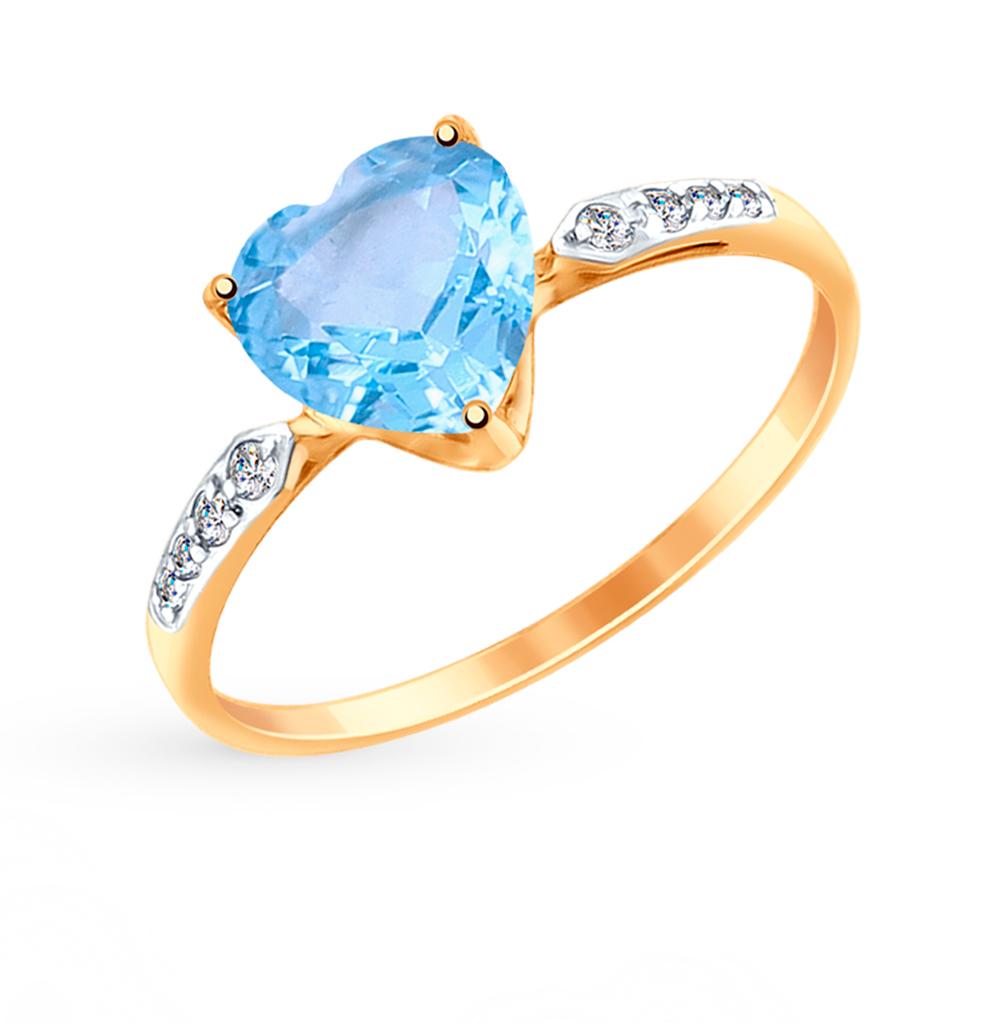 Фото «Золотое кольцо с топазами и фианитами SOKOLOV 714992*»