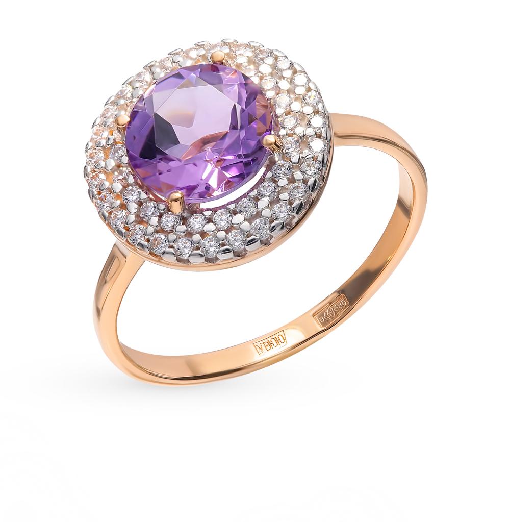 золотое кольцо с аметистом и фианитами SOKOLOV 714975*