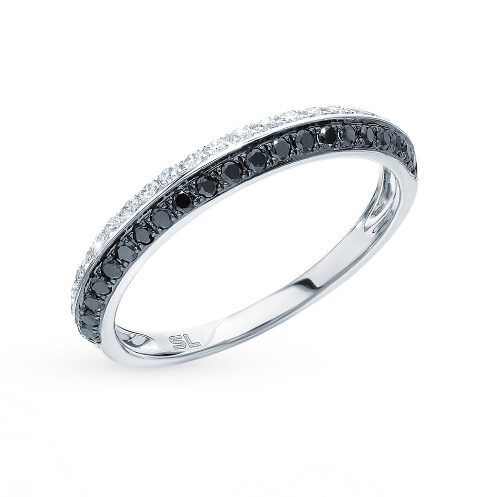 Золотое кольцо с чёрными бриллиантами и бриллиантами в Санкт-Петербурге