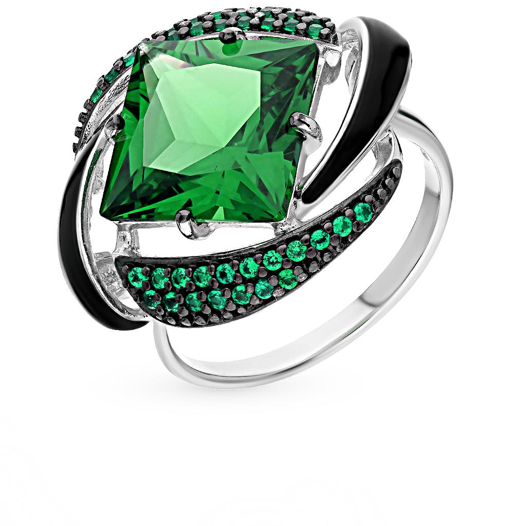 Серебряное кольцо с фианитами, эмалью и наноситаллами SOKOLOV 92011302 в Екатеринбурге