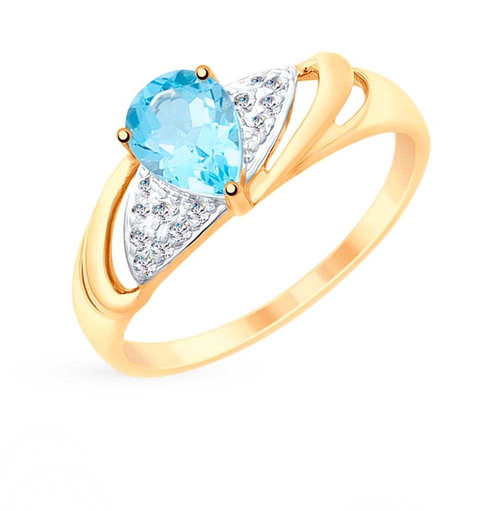 Фото «Золотое кольцо с топазами и фианитами SOKOLOV 715245*»