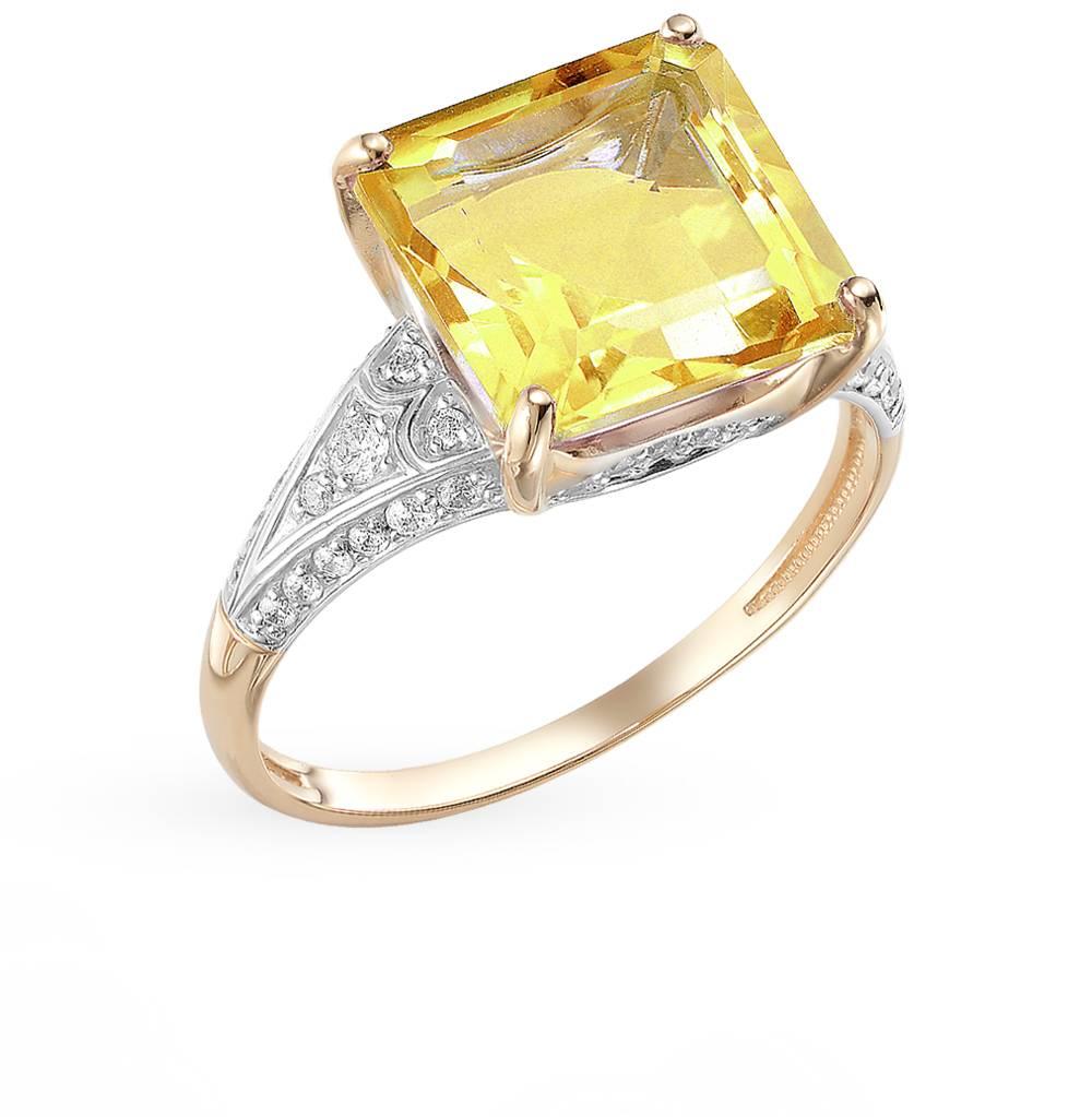 золотое кольцо с фианитами и цитринами
