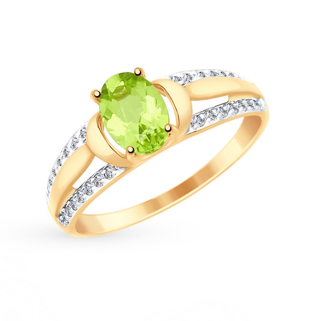 Золотое кольцо с хризолитом и фианитами SOKOLOV 715037 в Екатеринбурге