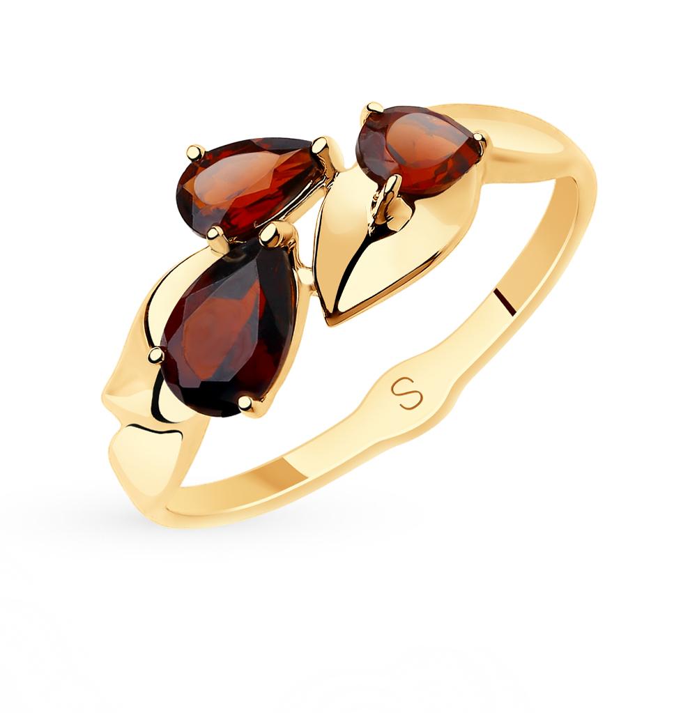золотое кольцо с гранатом SOKOLOV 715652*