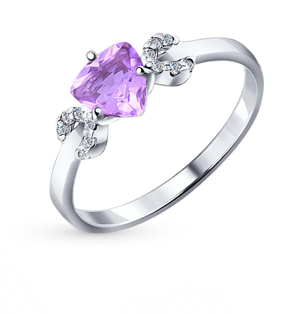 Фото «Серебряное кольцо с аметистом и фианитами SOKOLOV 92011042»