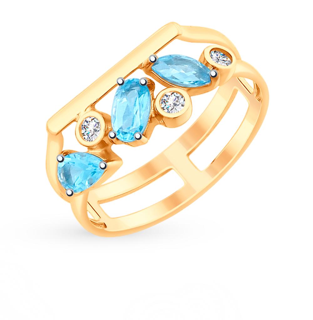 золотое кольцо с топазами и фианитами SOKOLOV 715177*
