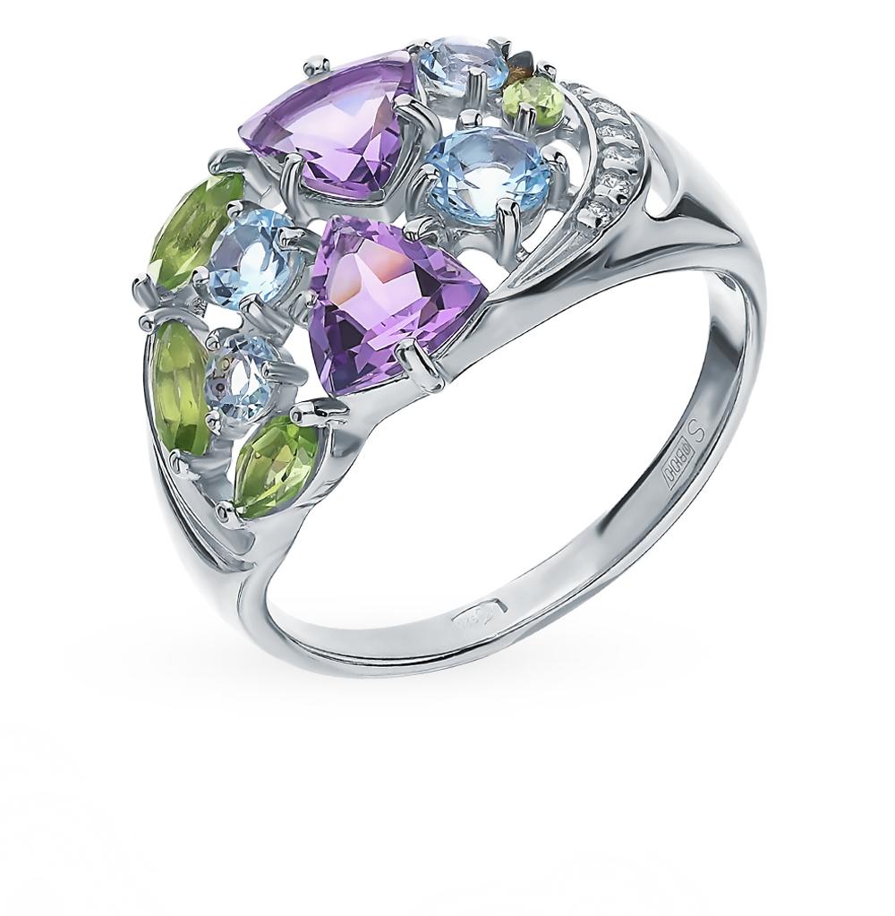 Серебряное кольцо с хризолитом, аметистом, топазами и фианитами SOKOLOV 92011834 в Санкт-Петербурге