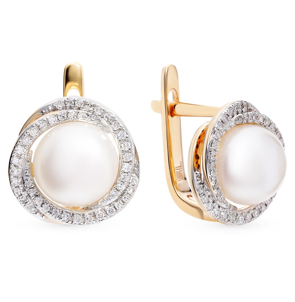 Золотые серьги с жемчугом и бриллиантами в Санкт-Петербурге
