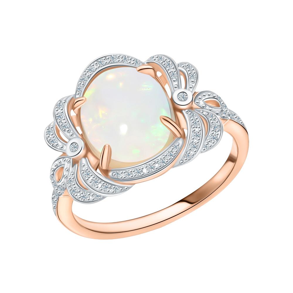 Фото «Золотое кольцо с опалом и бриллиантами»