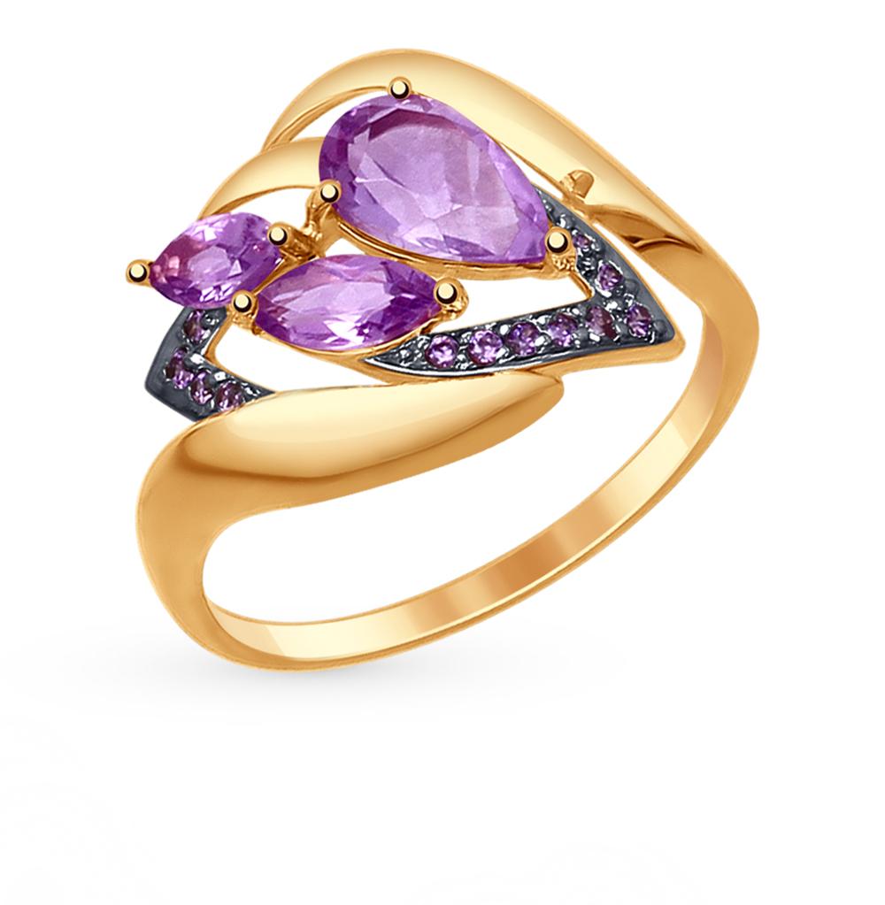 золотое кольцо с аметистом и фианитами SOKOLOV 714778*