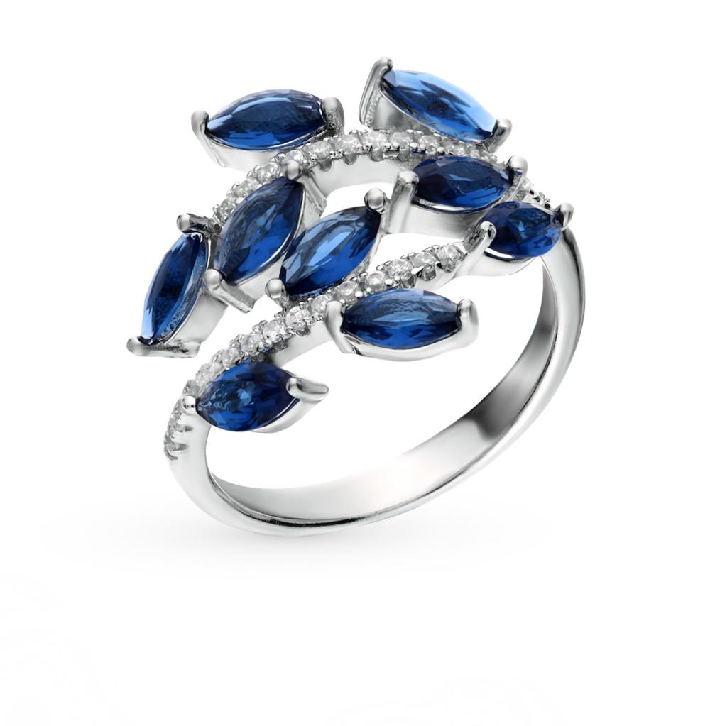 серебряное кольцо с кубическими циркониями