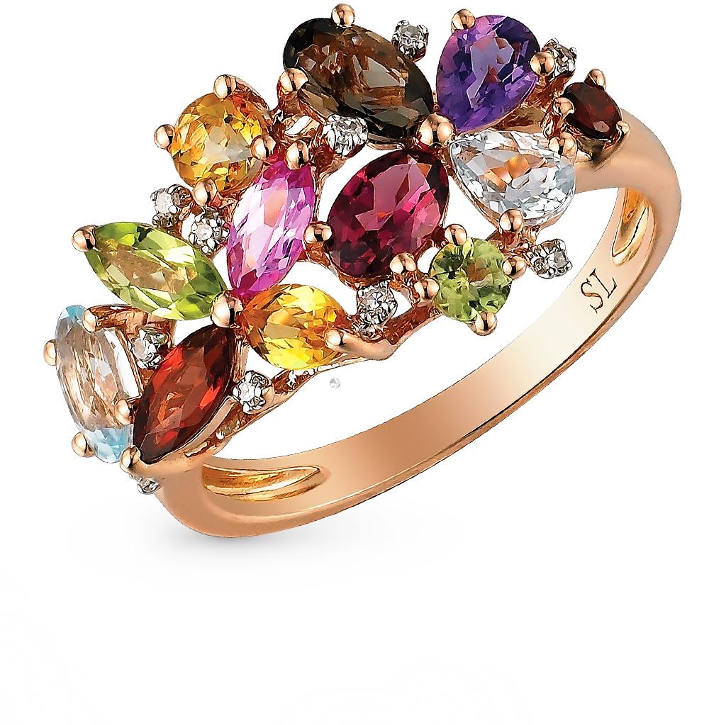 Фото «золото кольцо с аметистом, гранатом, топазами, сапфирами, хризолитом и раухтопазами (кварцами дымчатый)»