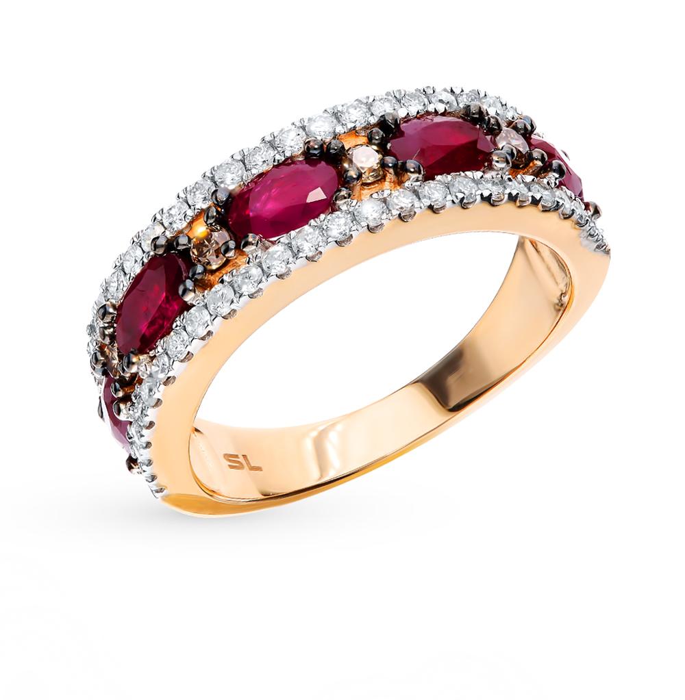 золотое кольцо с коньячными бриллиантами, рубинами и бриллиантами