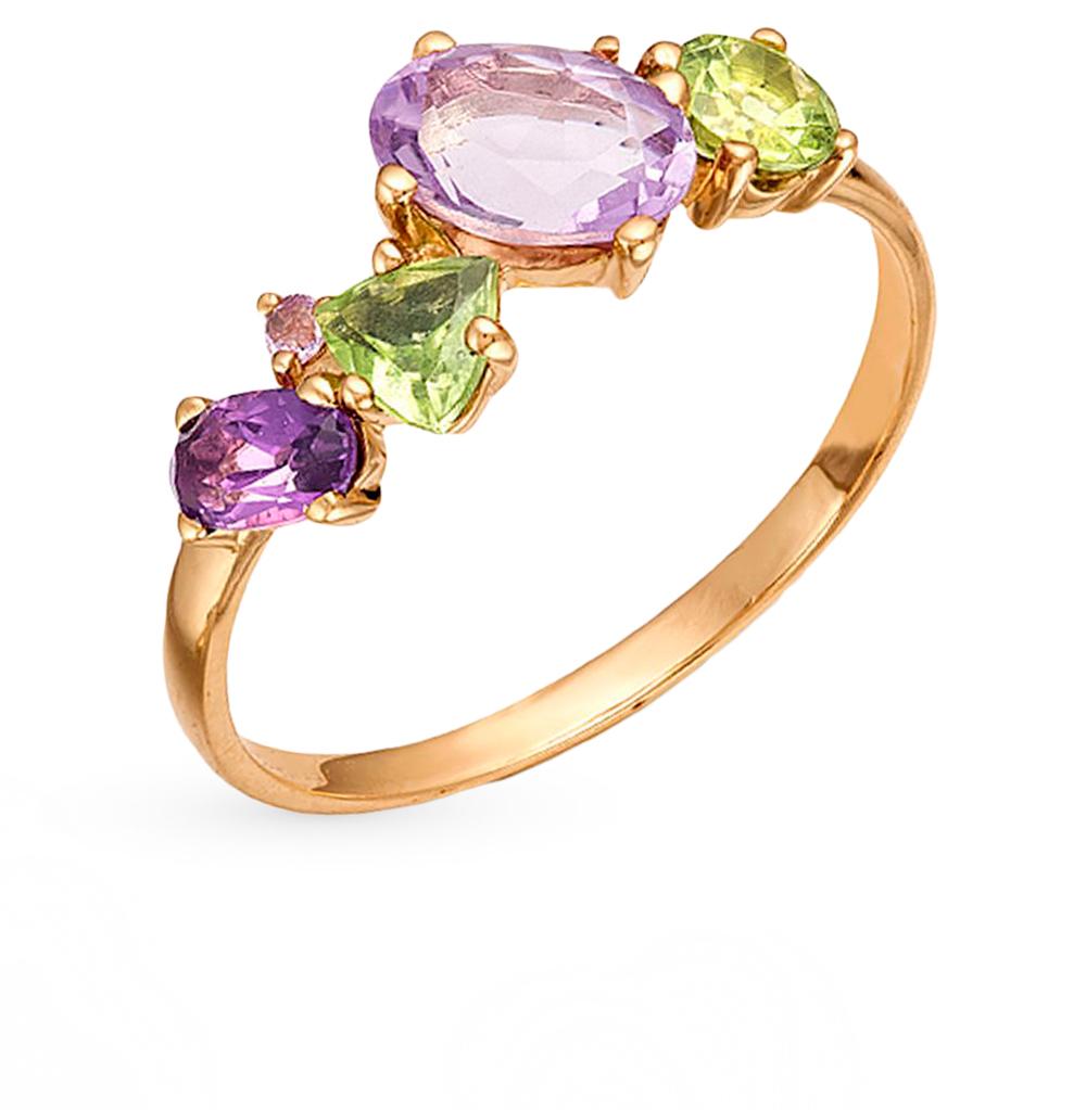 золотое кольцо с хризолитом и аметистом