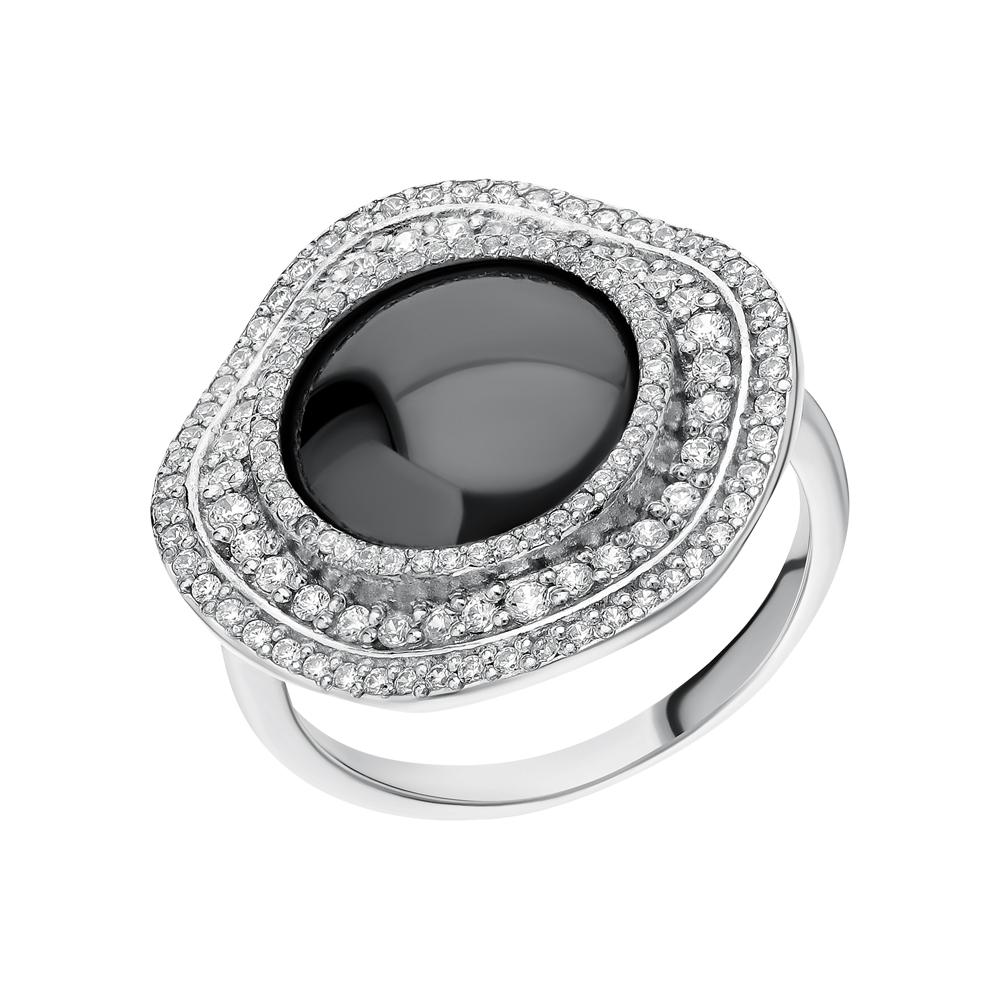 Серебряное кольцо с гематитом и фианитами в Екатеринбурге