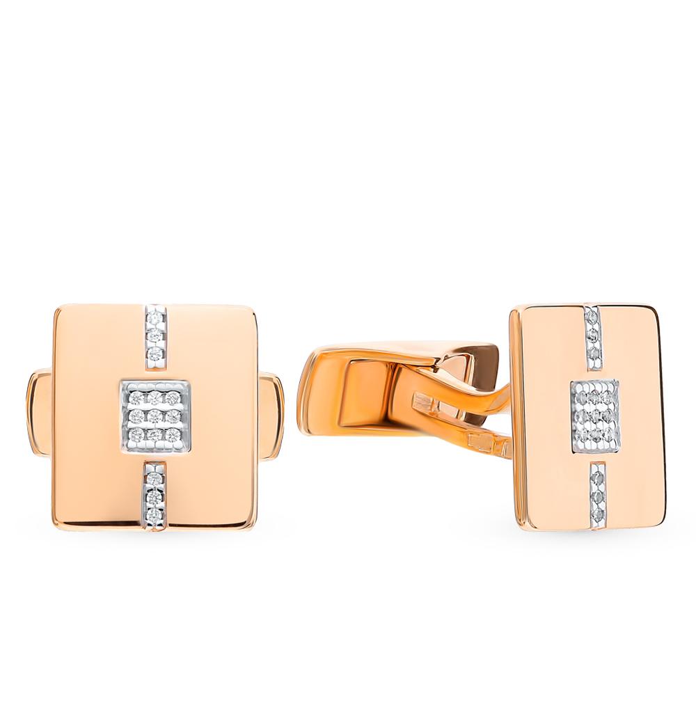 золотые запонки с фианитами SOKOLOV 160038*