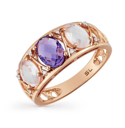 Фото «золотое кольцо с аметистом, кварцем и бриллиантами»