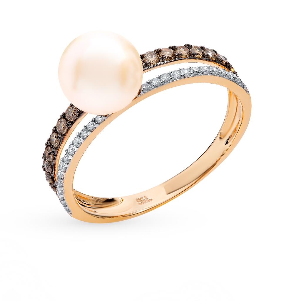 Золотое кольцо с коньячными бриллиантами, жемчугом