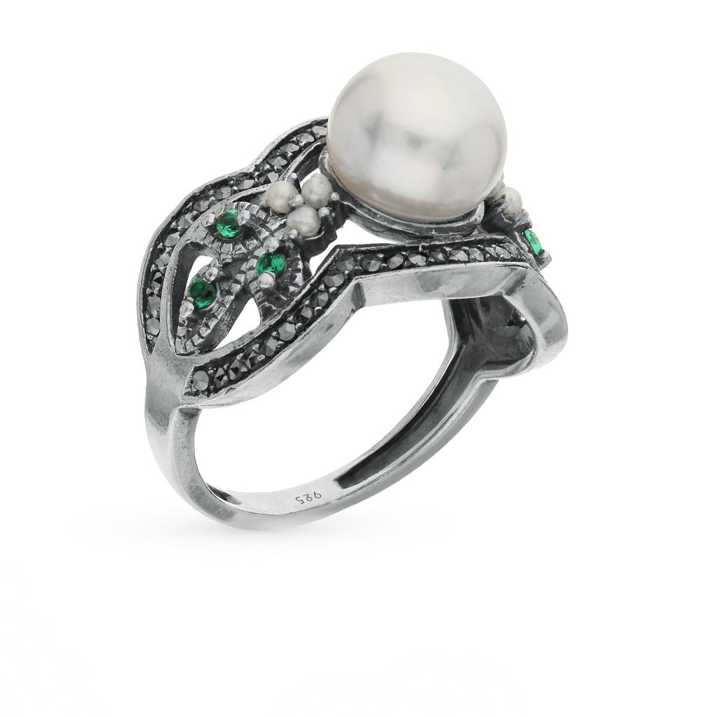 Фото «серебряное кольцо с бериллом, марказитами и жемчугом»