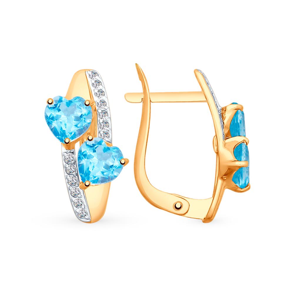 Фото «Золотые серьги с топазами и фианитами SOKOLOV 725333*»