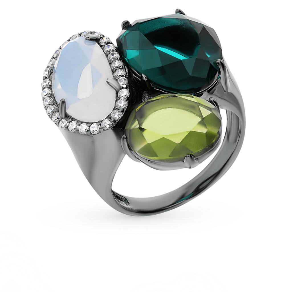 серебряное кольцо с алпанитом, фианитами и лунными камнями