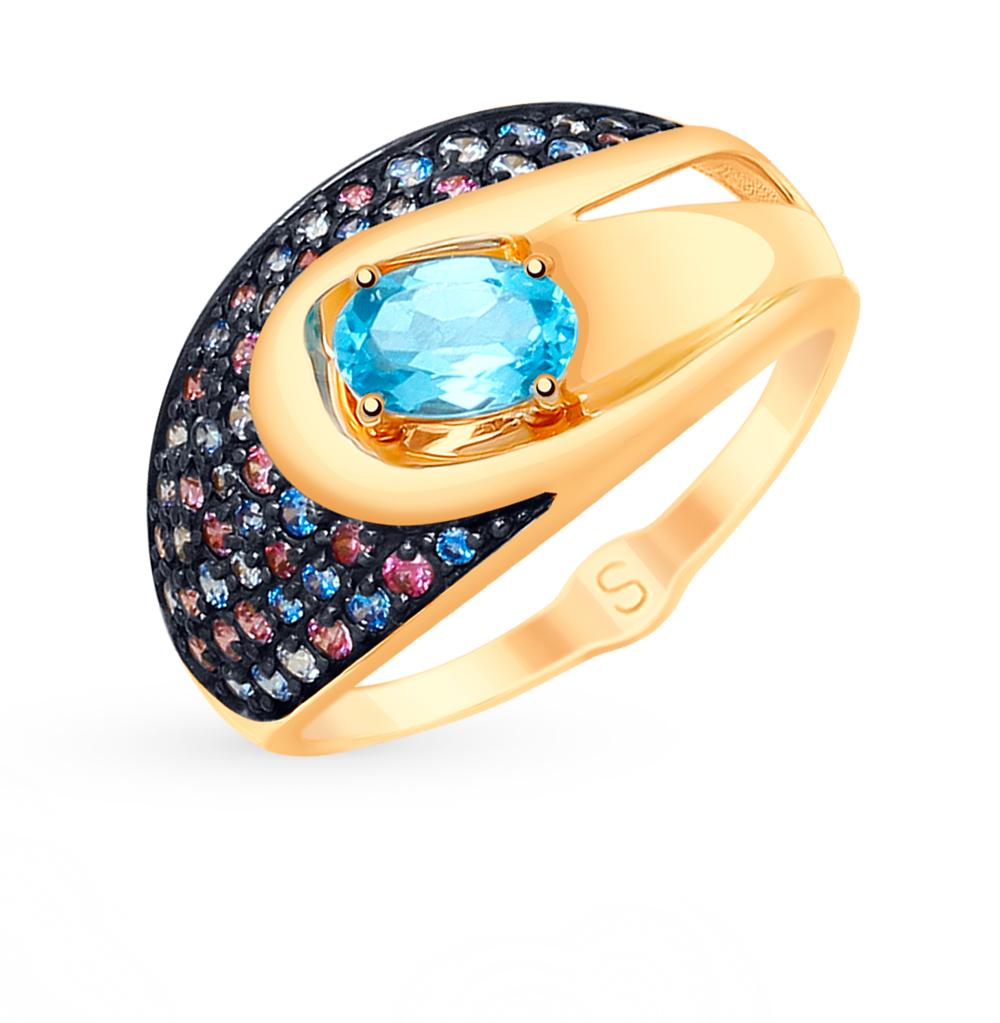 золотое кольцо с топазами и фианитами SOKOLOV 715181