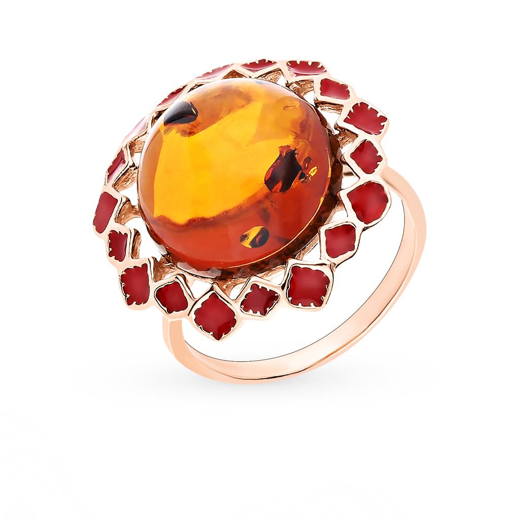 Серебряное кольцо с янтарем и эмалью в Екатеринбурге