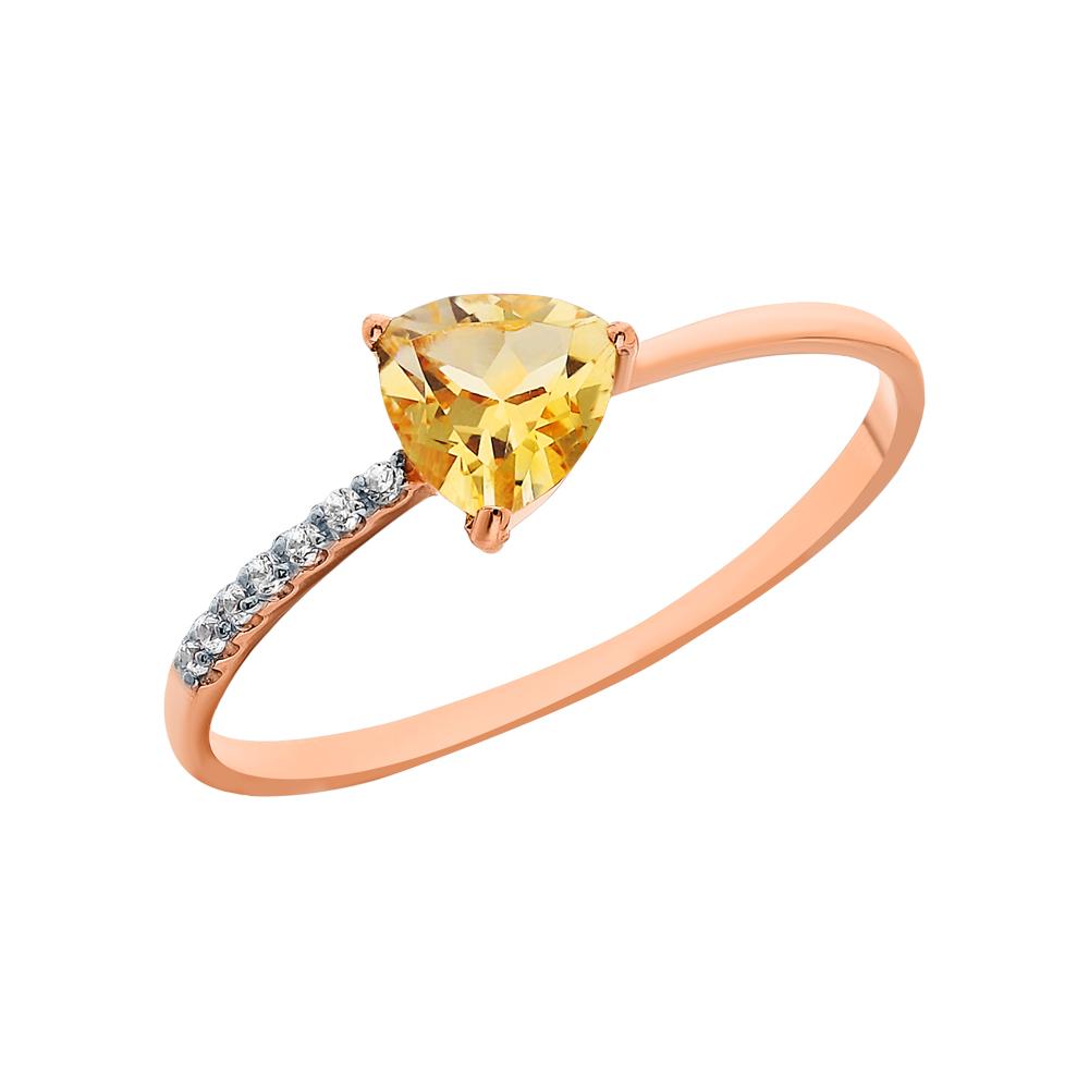 Золотое кольцо с фианитами и цитринами в Санкт-Петербурге