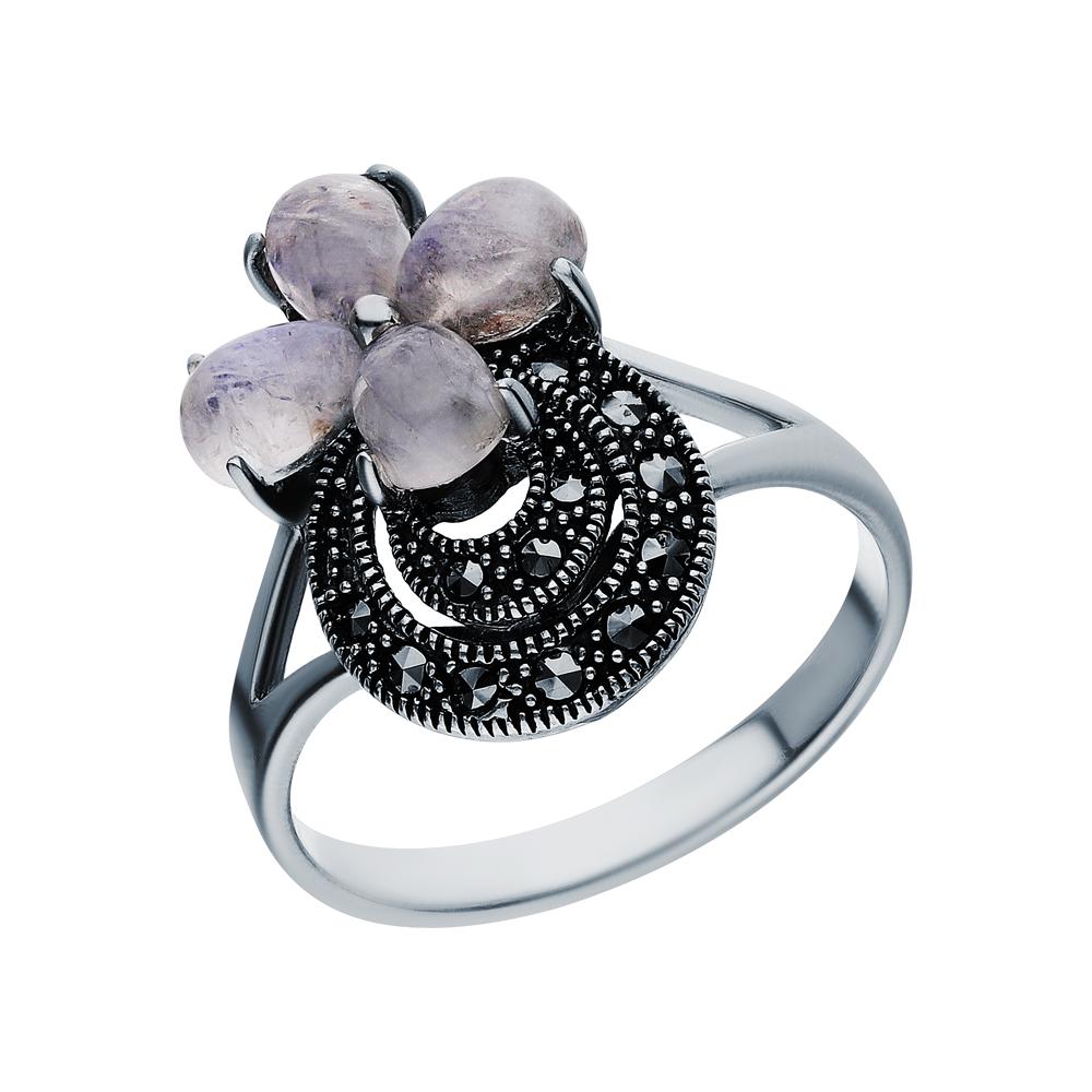 Серебряное кольцо с марказитами swarovski и лунными камнями в Санкт-Петербурге