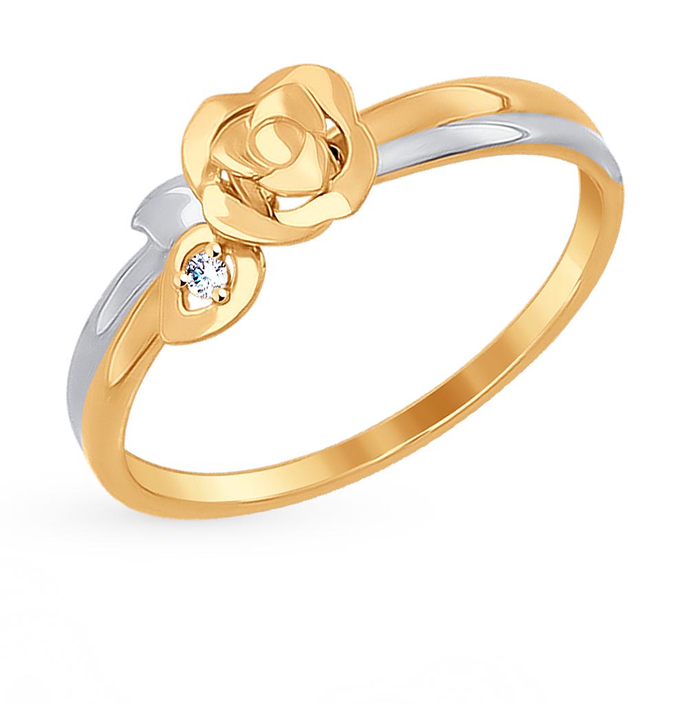 золотое кольцо с фианитами SOKOLOV 017273*