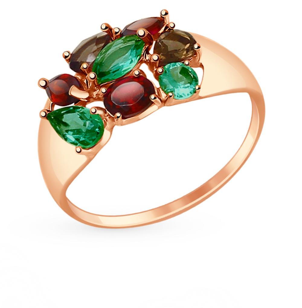 золотое кольцо с гранатом и раухтопазами (кварцами дымчатый) SOKOLOV 714679*