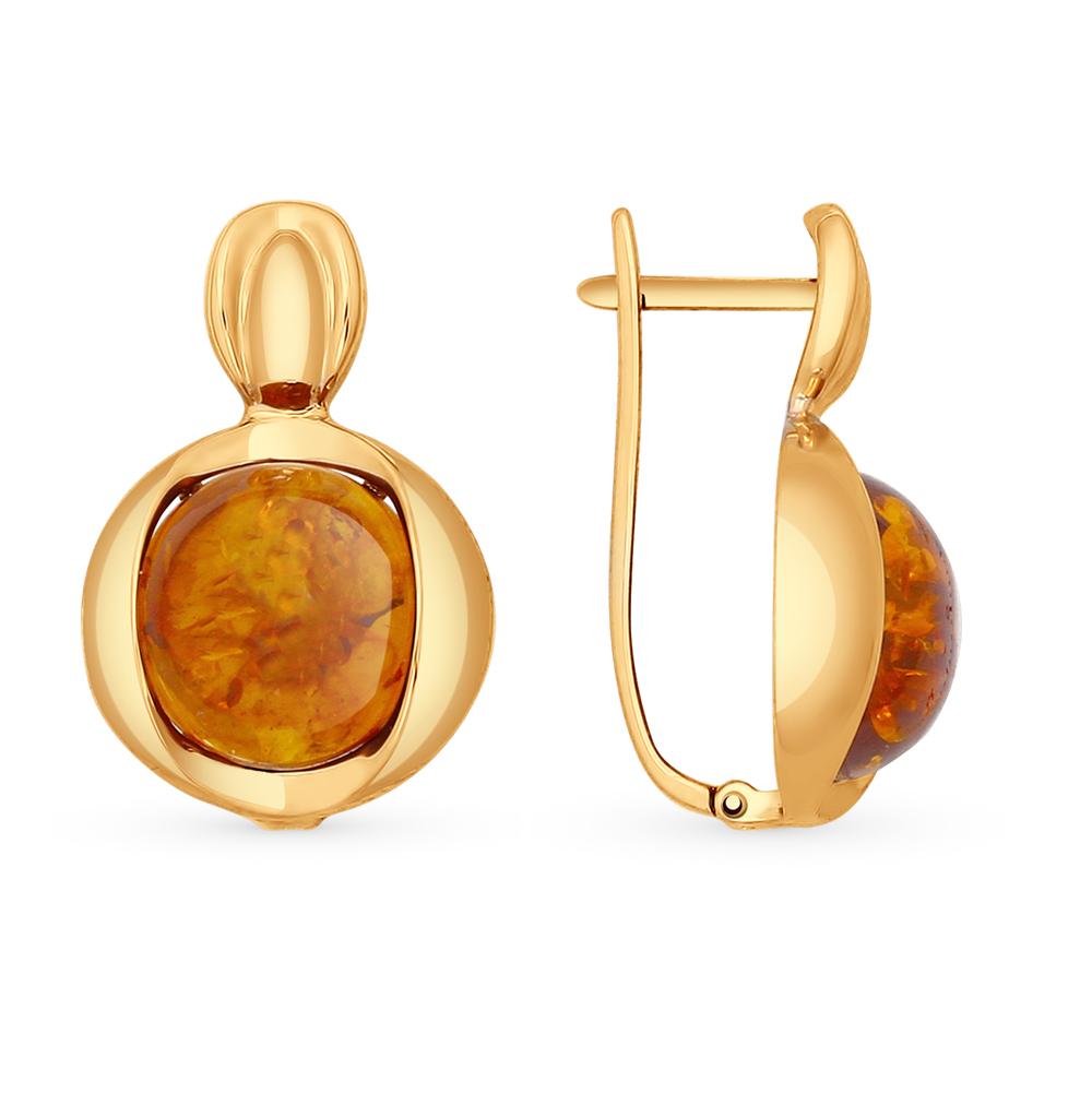 золотые серьги с янтарем SOKOLOV 724531*