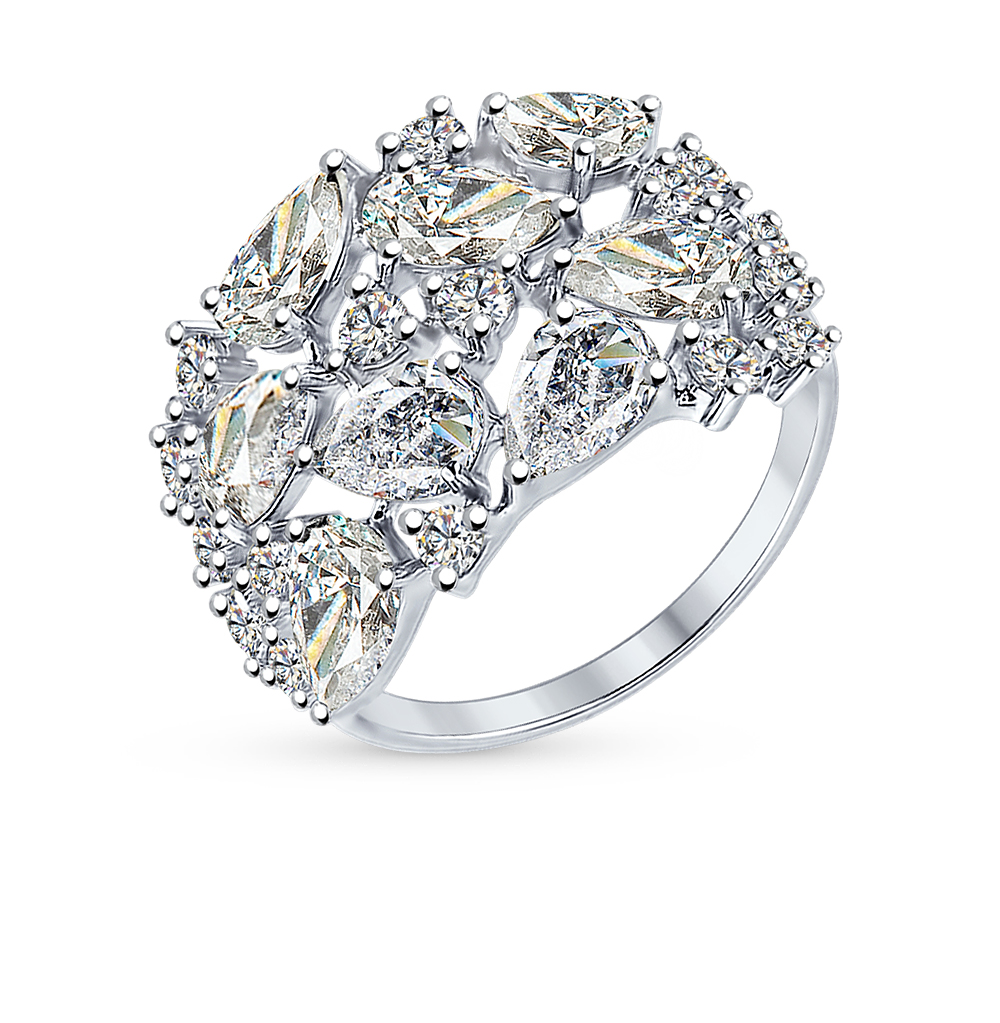серебряное кольцо с фианитами SOKOLOV 94012236