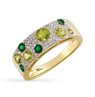 золотое кольцо с хризолитом, изумрудами и бриллиантами