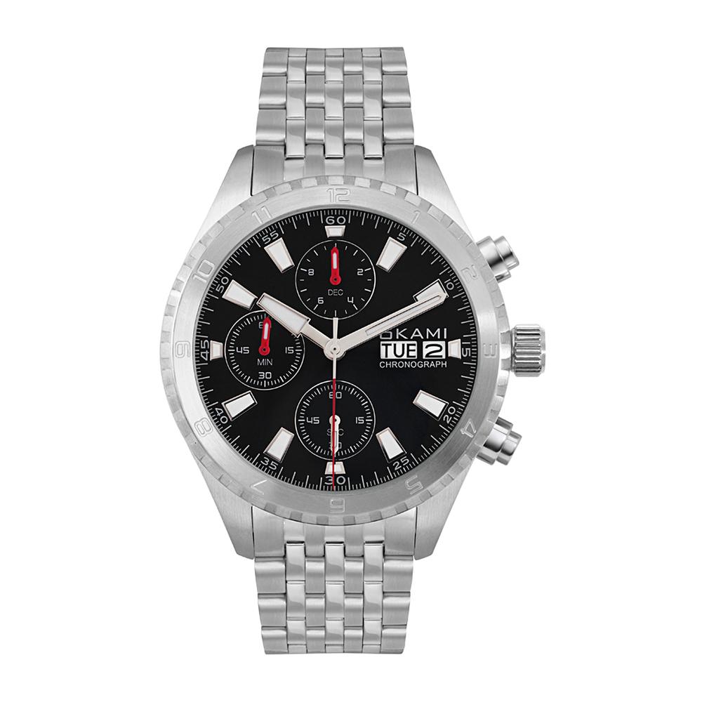 Фото «Мужские часы с хронографом и календарем на стальном браслете»