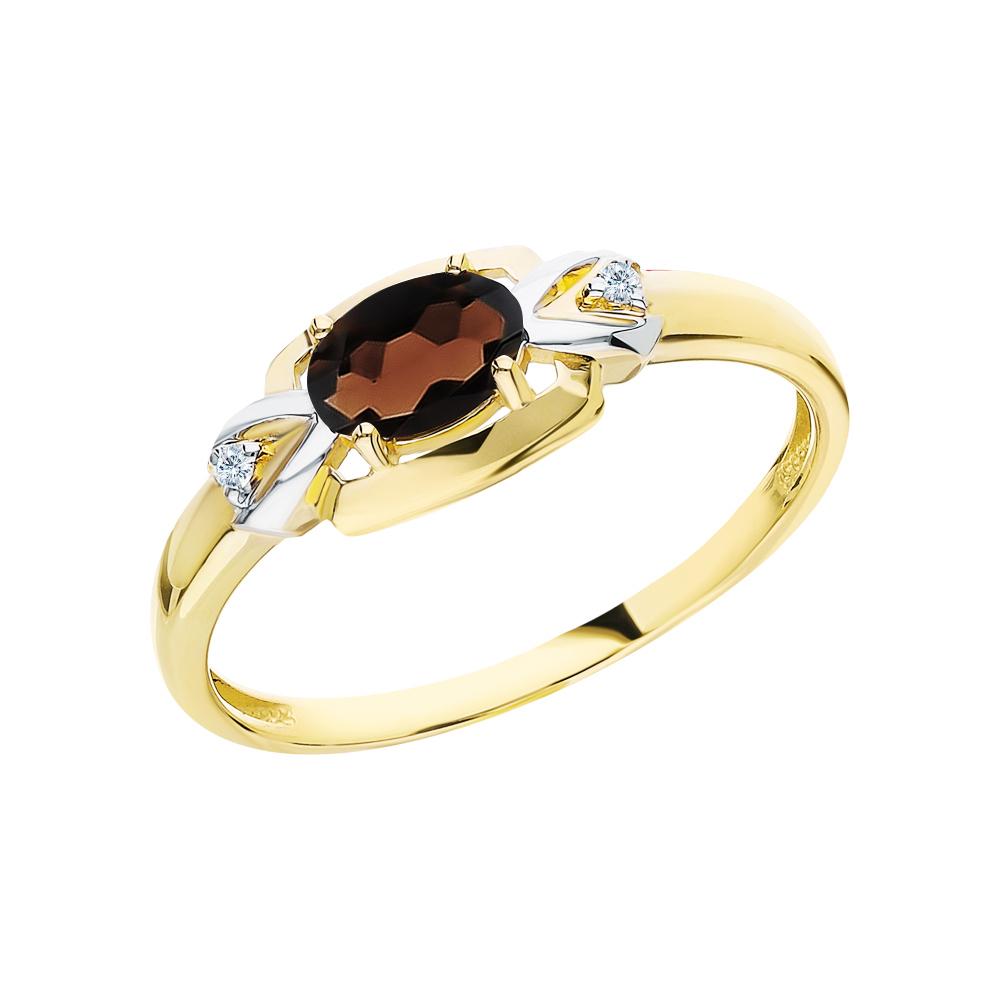 Золотое кольцо с кварцами дымчатыми и бриллиантами в Екатеринбурге