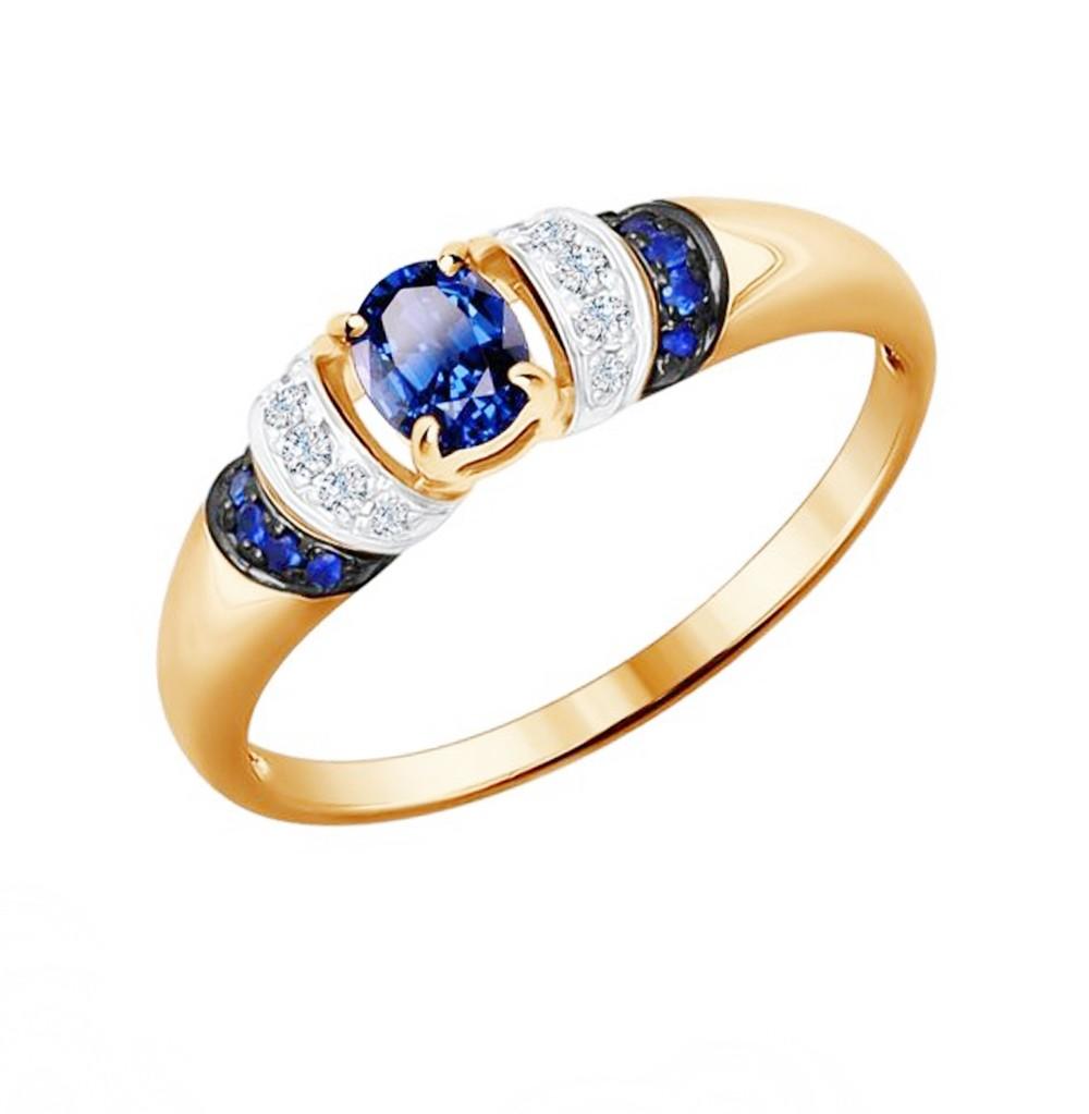 Золотое кольцо с сапфирами и бриллиантами SOKOLOV 2011049 в Екатеринбурге
