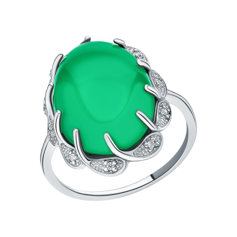 Серебряное кольцо с хризопразами и фианитами в Екатеринбурге