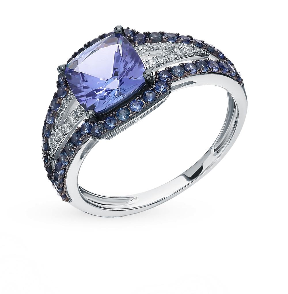 Золотое кольцо с танзанитом, сапфирами и бриллиантами в Екатеринбурге
