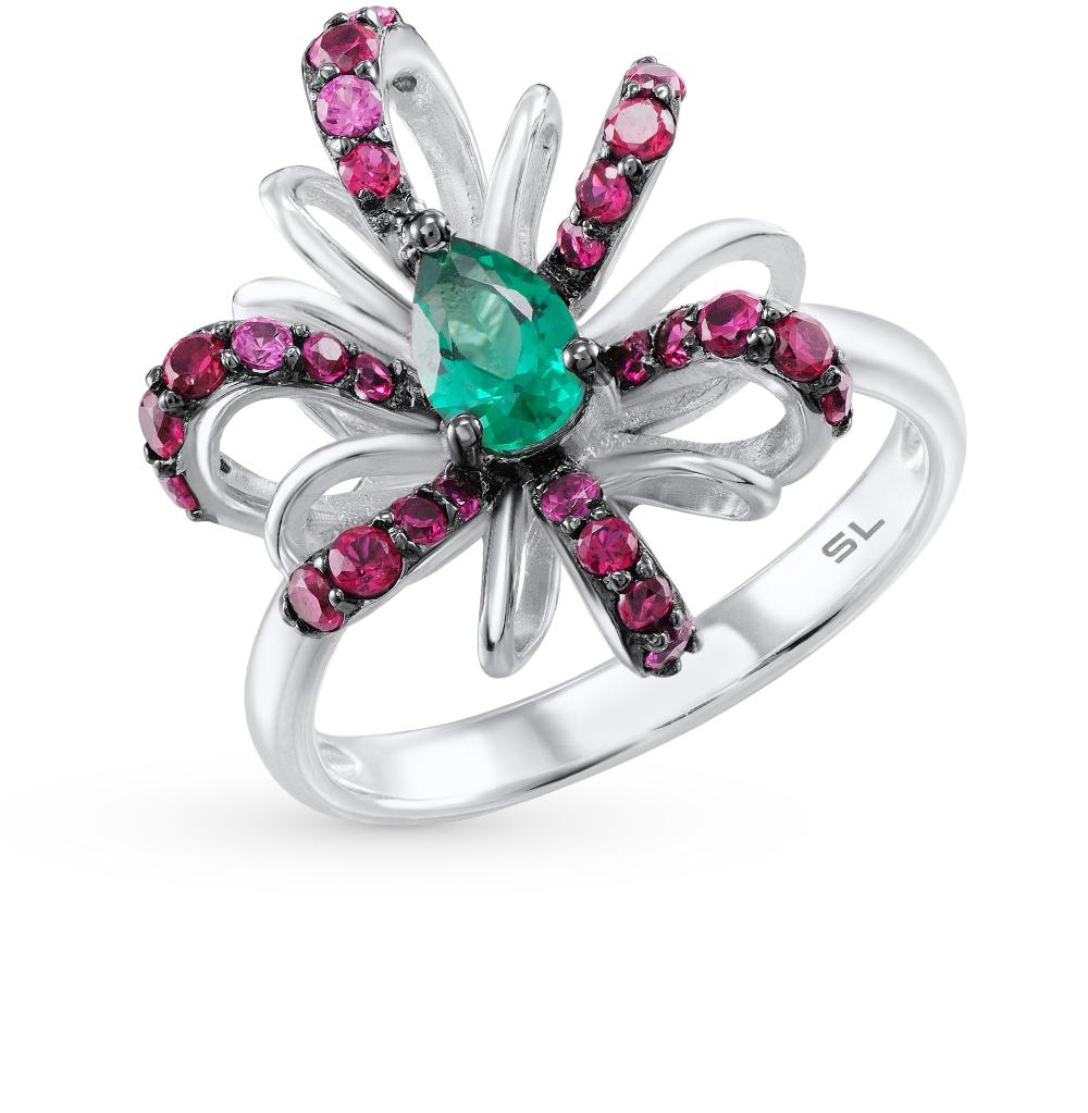Фото «серебряное кольцо с изумрудами и рубинами»