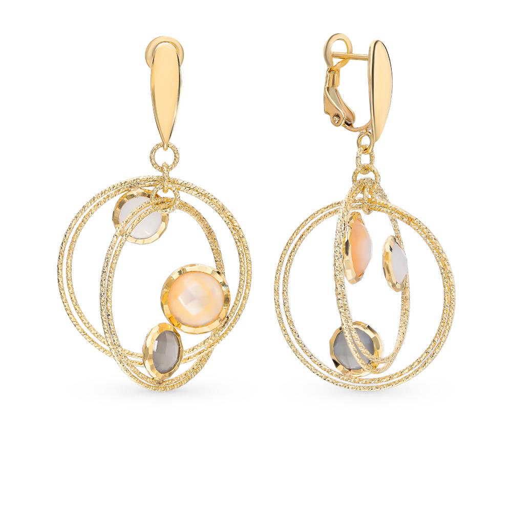 Фото «Золотые серьги с перламутром и лунными камнями»