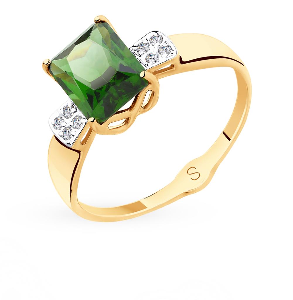 Фото «Золотое кольцо с фианитами и ситаллами SOKOLOV 715415»
