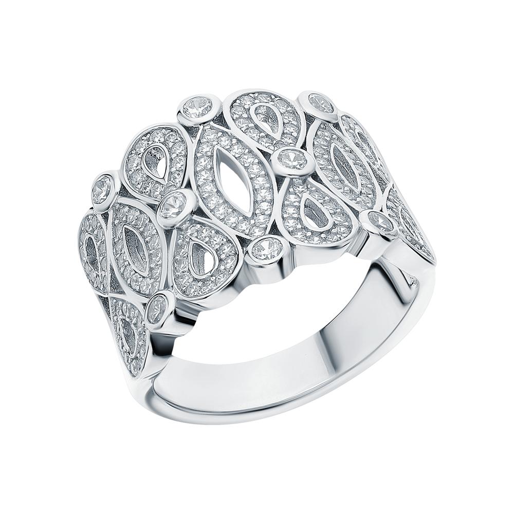 Фото «Серебряное кольцо с цирконием и кубическими циркониями»