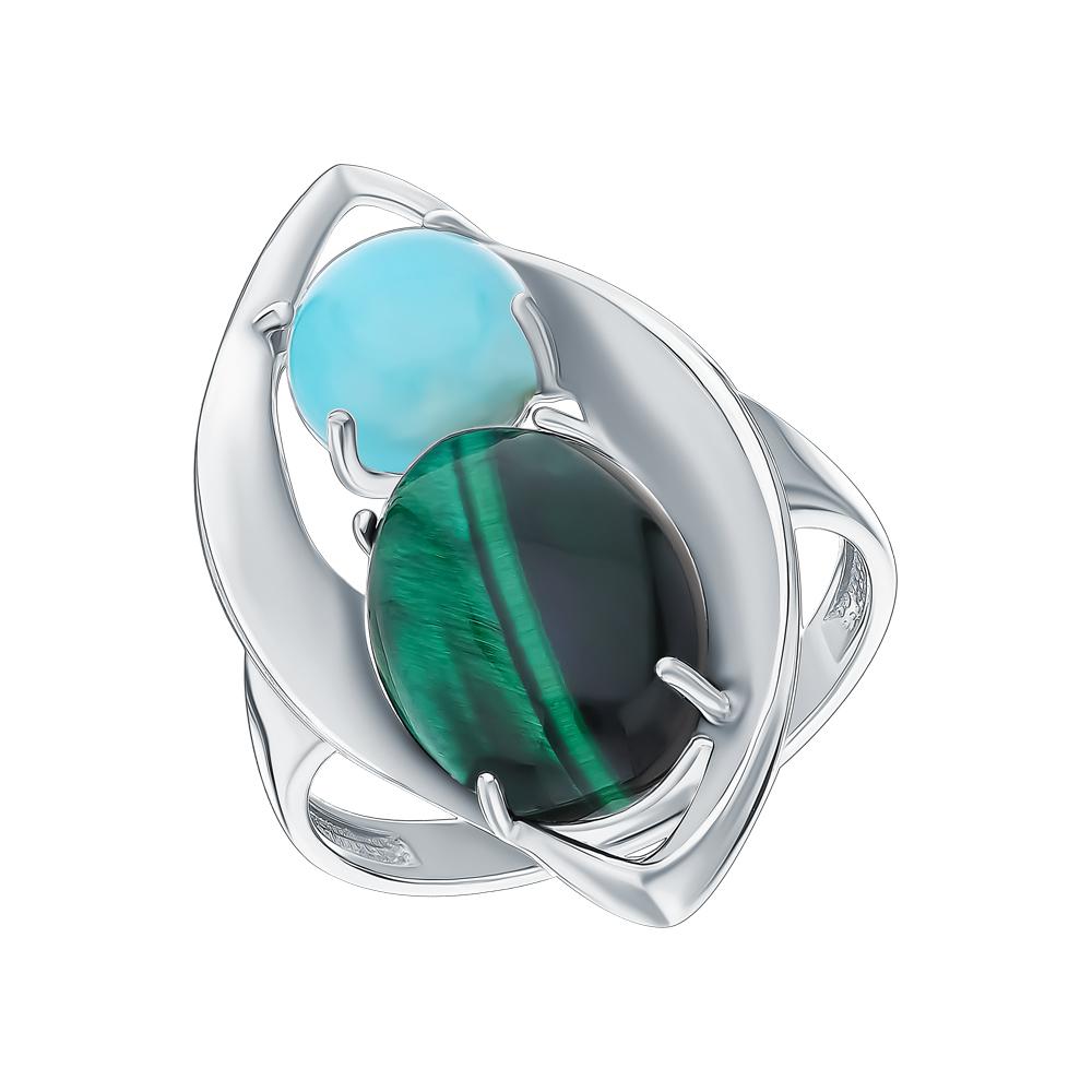 Серебряное кольцо с амазонитом и тигровым глазом 132333-42/05 в Екатеринбурге