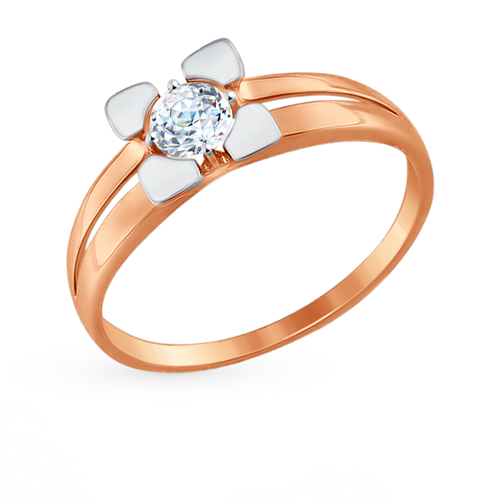 золотое кольцо с фианитами SOKOLOV 81010305*