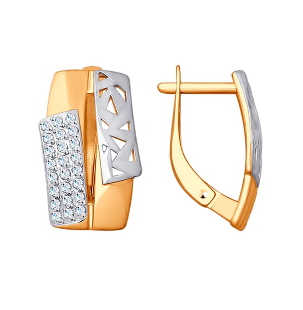 золотые серьги с фианитами SOKOLOV 027881