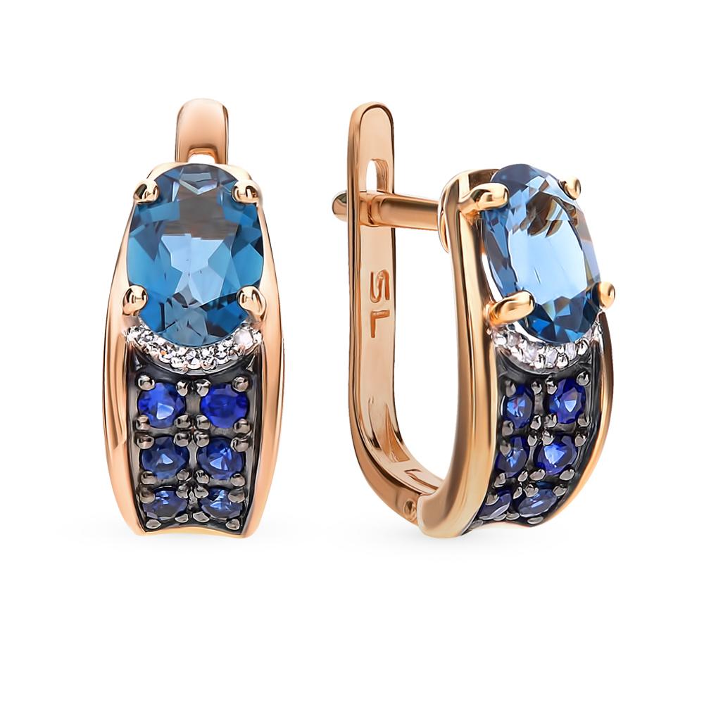 Фото «Золотые серьги с сапфирами, топазами и бриллиантами»